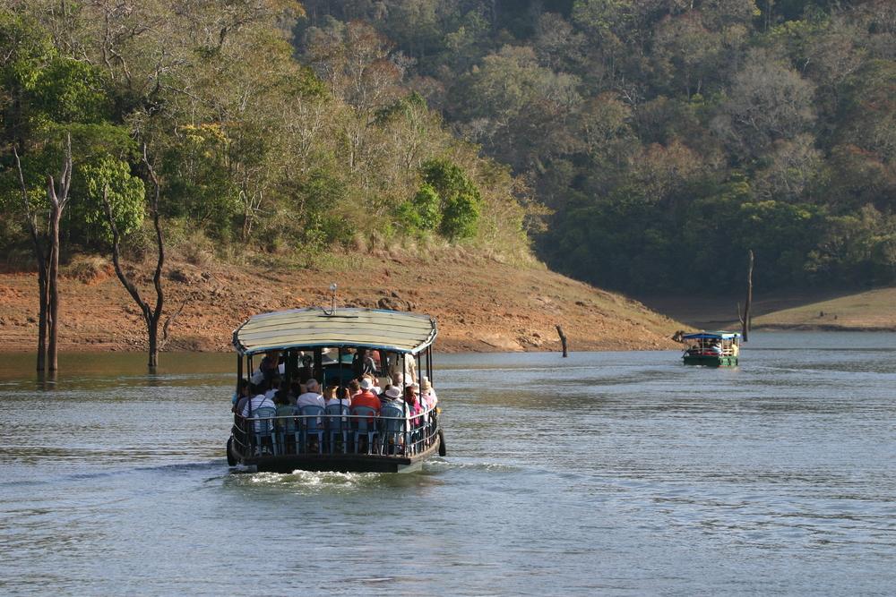 Boats On Forest Lake Periyar National Park Kerala India