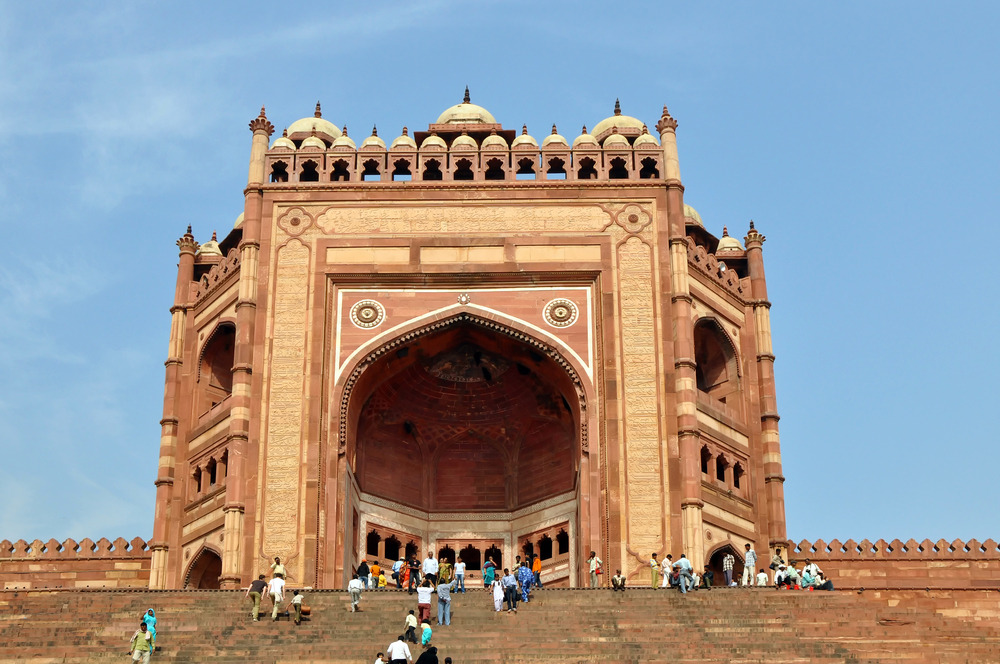 Fatehpur Sikri India November An Unidentified Group Of Tourists Enter The Buland