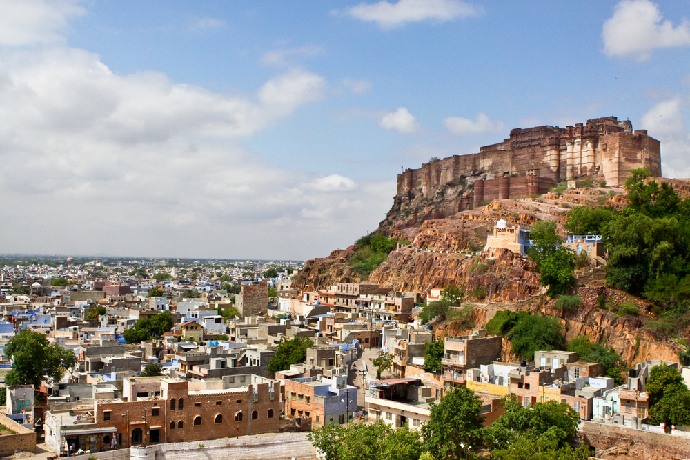 The Mehrangarh Fort Towers Feet Over The Rajasthani City Of Jodhpur