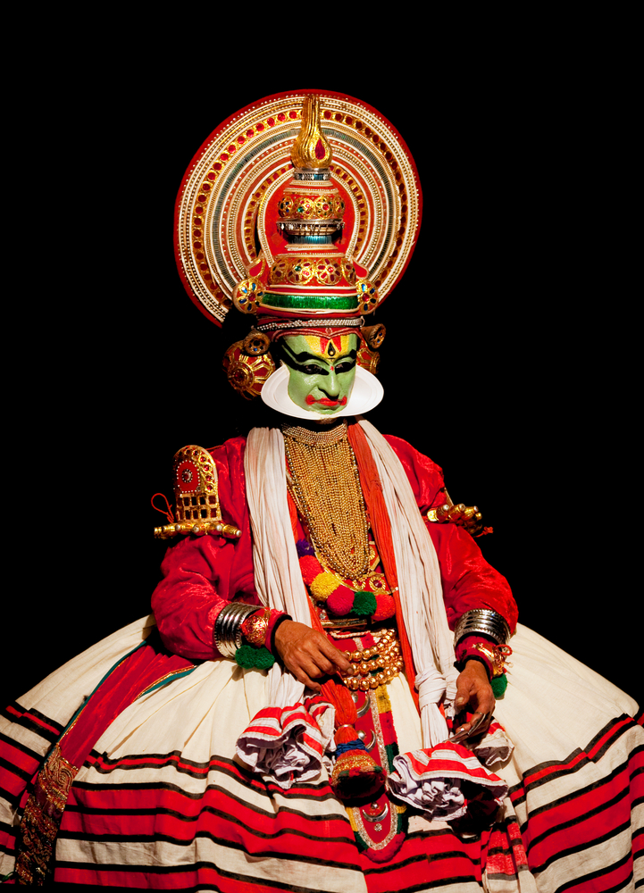 Varkala India February Kathakali Performer In The Virtuous Pachcha Green Role On February