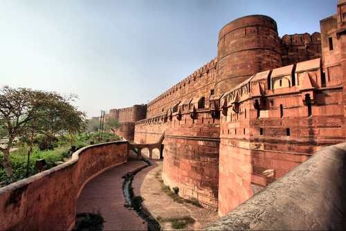 Outside Of The Red Fort In Agra India