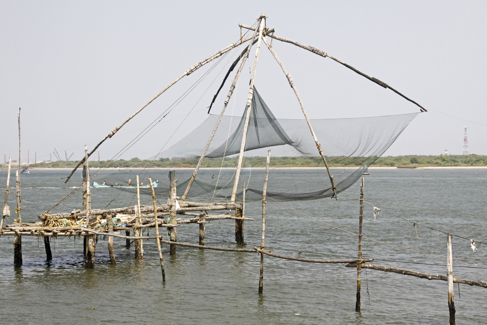 The Traditional Chinese Fishing Nets At Cochin Ind